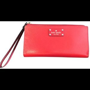 Kate Spade Red Leather Wristlet Zippered Wallet